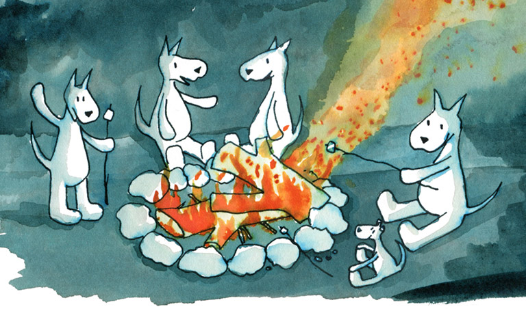 Join the Conversation illustration of dogs talking by a campfire