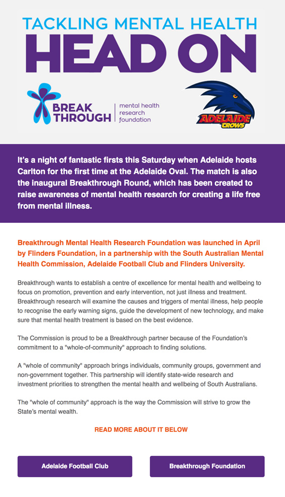 Tackling Mental Health head on! Adelaide Vs Carlton: Inaugural Breakthrough Round