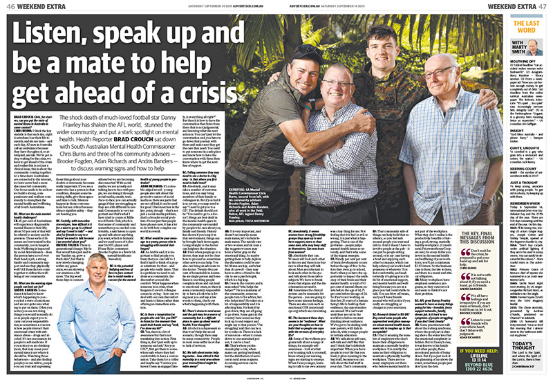 Listen, speak up and be a mate to help get ahead of a crisis