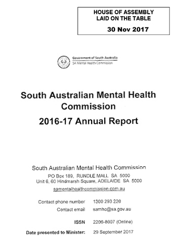 SA Mental Health Annual Report 2016-2017