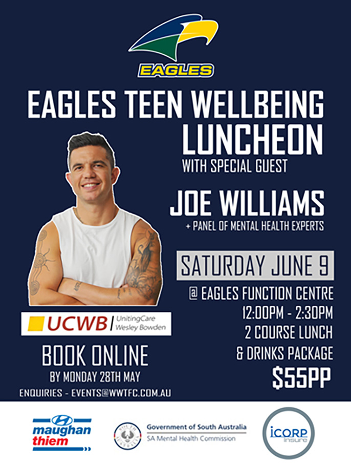 Saturday June 9 – Book Tickets for Eagles Teen Wellbeing Luncheon