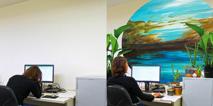 Image left: Windowless office – Many people work in rooms without windows. Image right: 'Art breaks' produced the calming and relaxing effect of nature-connection. Photos by B.Minuzzo.