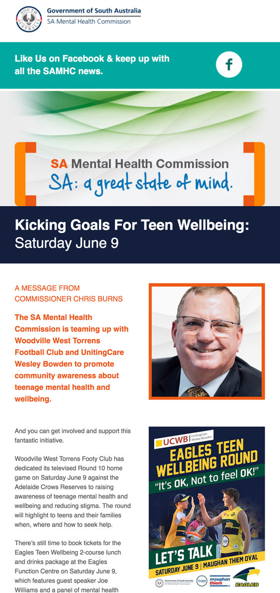 Kicking Goals For Teen Wellbeing: Saturday June 9 – Book Tickets for Luncheon